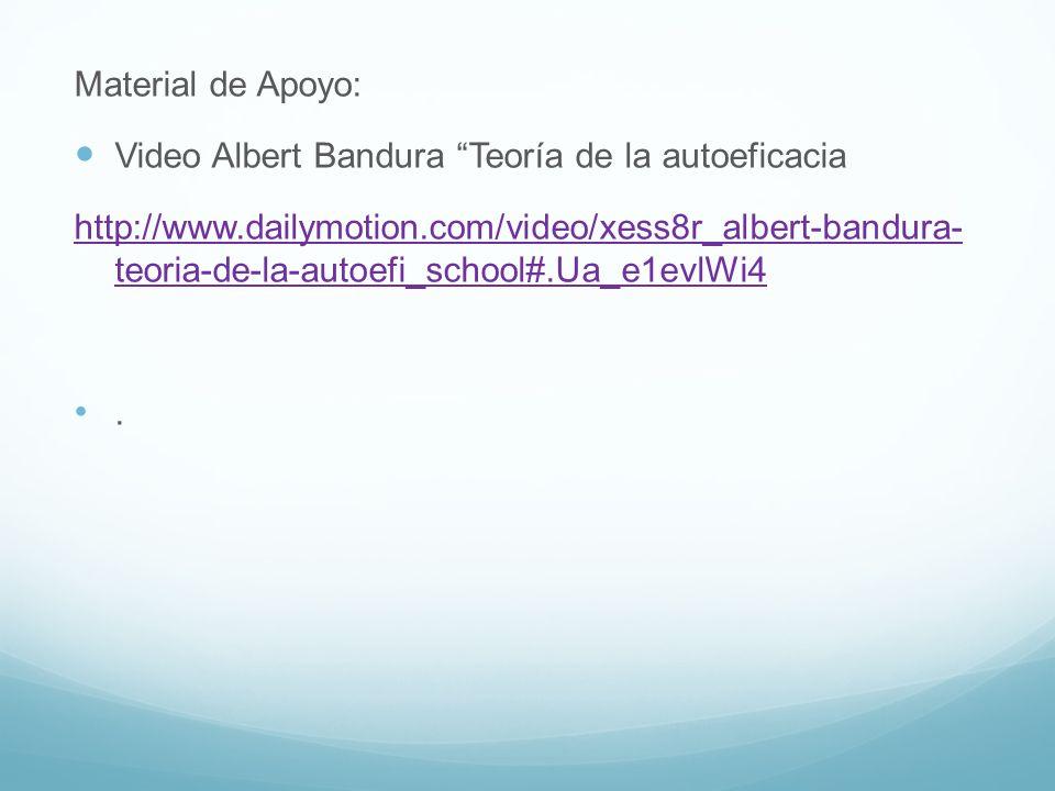 Material de Apoyo: Video Albert Bandura Teoría de la autoeficacia http://www.dailymotion.com/video/xess8r_albert-bandura- teoria-de-la-autoefi_school#