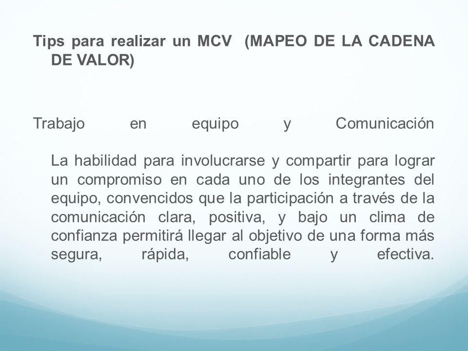 Tips para realizar un MCV (MAPEO DE LA CADENA DE VALOR) Trabajo en equipo y Comunicación La habilidad para involucrarse y compartir para lograr un com