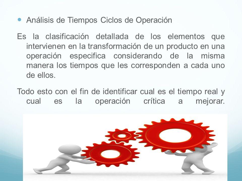 Análisis de Tiempos Ciclos de Operación Es la clasificación detallada de los elementos que intervienen en la transformación de un producto en una oper