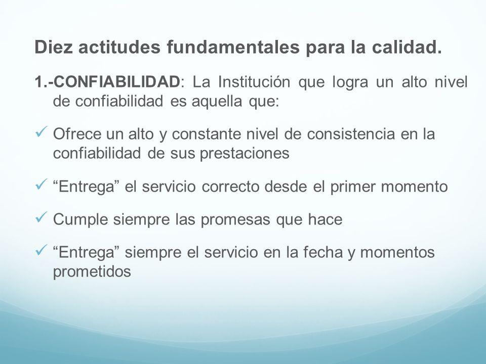 Diez actitudes fundamentales para la calidad. 1.-CONFIABILIDAD: La Institución que logra un alto nivel de confiabilidad es aquella que: Ofrece un alto
