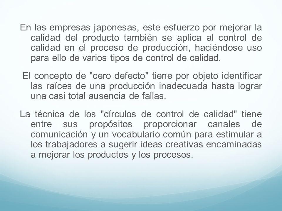 En las empresas japonesas, este esfuerzo por mejorar la calidad del producto también se aplica al control de calidad en el proceso de producción, haci