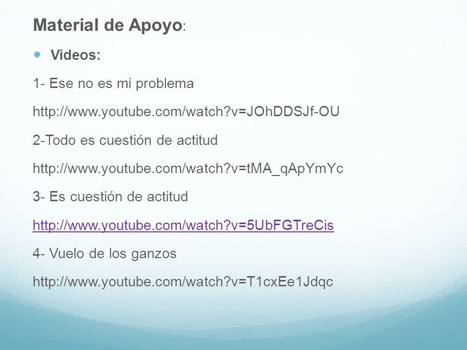 Material de Apoyo : Videos: 1- Ese no es mi problema http://www.youtube.com/watch?v=JOhDDSJf-OU 2-Todo es cuestión de actitud http://www.youtube.com/w