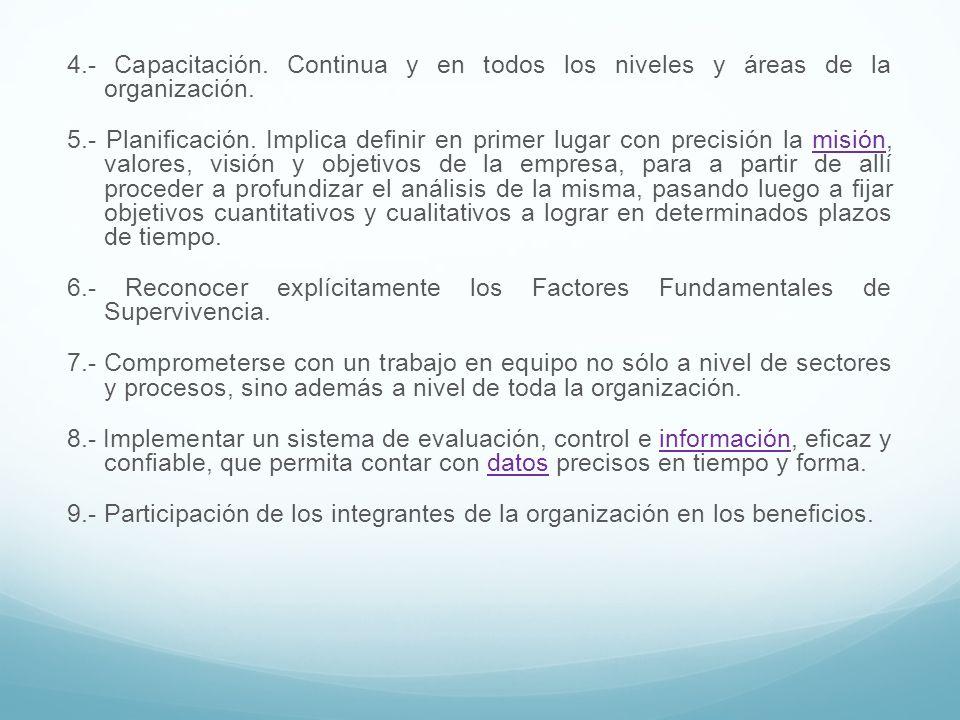 4.- Capacitación. Continua y en todos los niveles y áreas de la organización. 5.- Planificación. Implica definir en primer lugar con precisión la misi