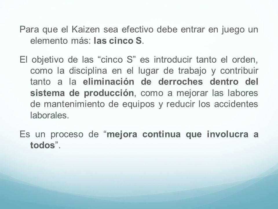 Para que el Kaizen sea efectivo debe entrar en juego un elemento más: las cinco S. El objetivo de las cinco S es introducir tanto el orden, como la di