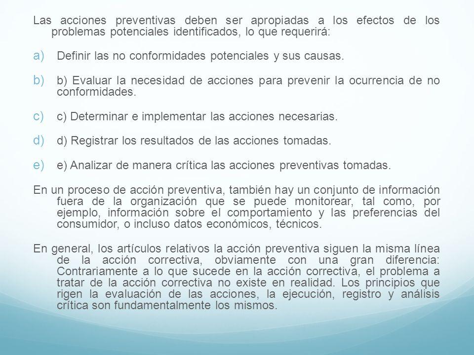 Las acciones preventivas deben ser apropiadas a los efectos de los problemas potenciales identificados, lo que requerirá: Definir las no conformidades