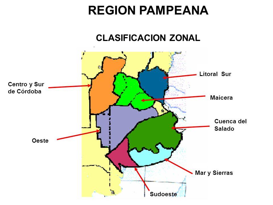 Oeste Centro y Sur de Córdoba Sudoeste Litoral Sur Maicera Cuenca del Salado Mar y Sierras REGION PAMPEANA CLASIFICACION ZONAL