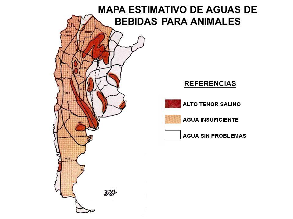 MAPA ESTIMATIVO DE AGUAS DE BEBIDAS PARA ANIMALES REFERENCIAS