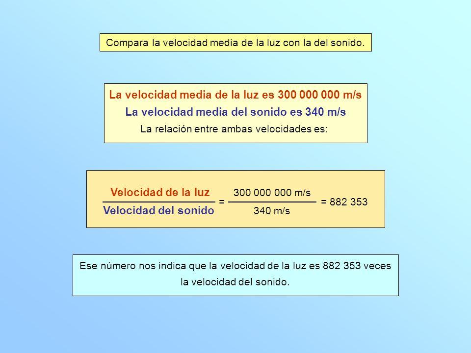Compara la velocidad media de la luz con la del sonido. La velocidad media de la luz es 300 000 000 m/s La velocidad media del sonido es 340 m/s La re