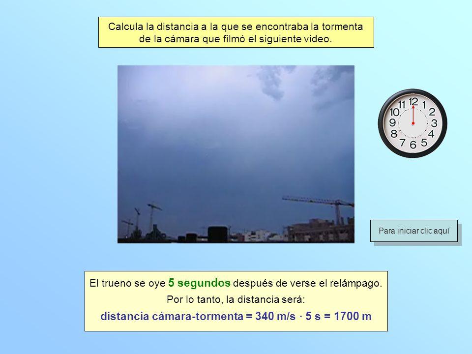Calcula la distancia a la que se encontraba la tormenta de la cámara que filmó el siguiente video. El trueno se oye 5 segundos después de verse el rel