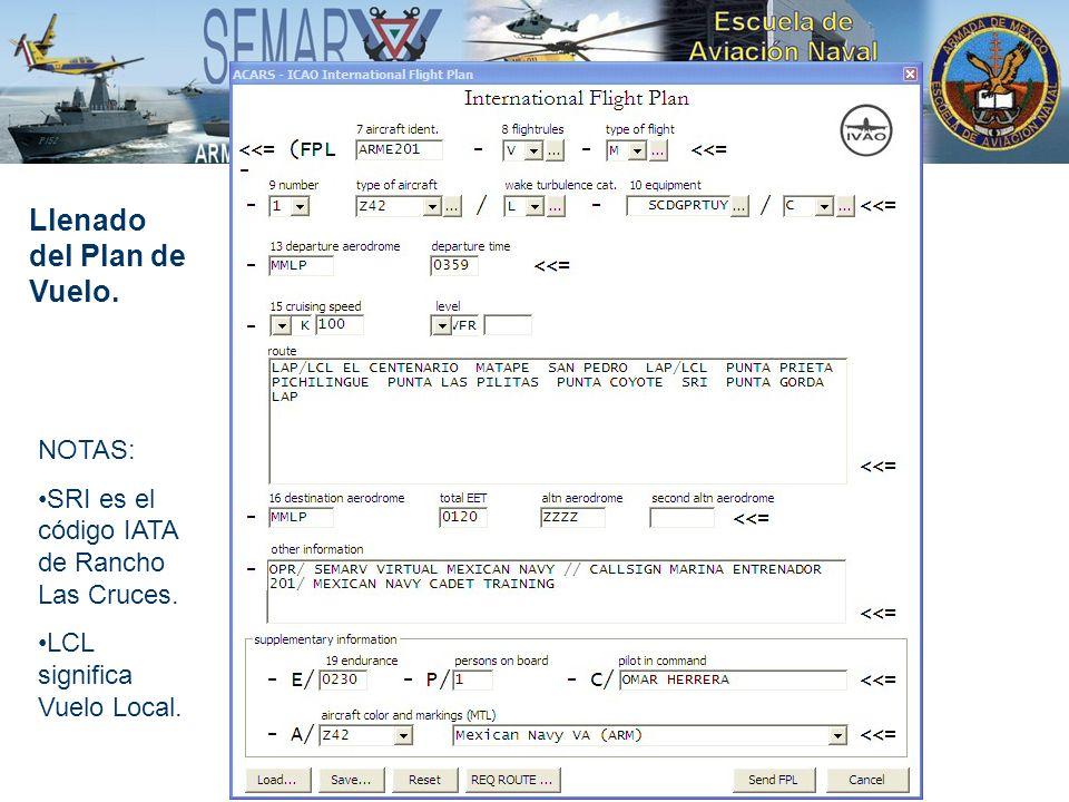 Llenado del Plan de Vuelo. NOTAS: SRI es el código IATA de Rancho Las Cruces. LCL significa Vuelo Local.
