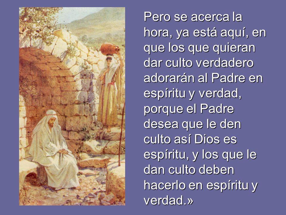 La mujer le dice: -«Sé que va a venir el Mesías, el Cristo; cuando venga, él nos lo dirá todo.» Jesús le dice: -«Soy yo, el que habla contigo.»