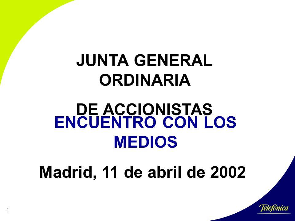 1 JUNTA GENERAL ORDINARIA DE ACCIONISTAS ENCUENTRO CON LOS MEDIOS Madrid, 11 de abril de 2002