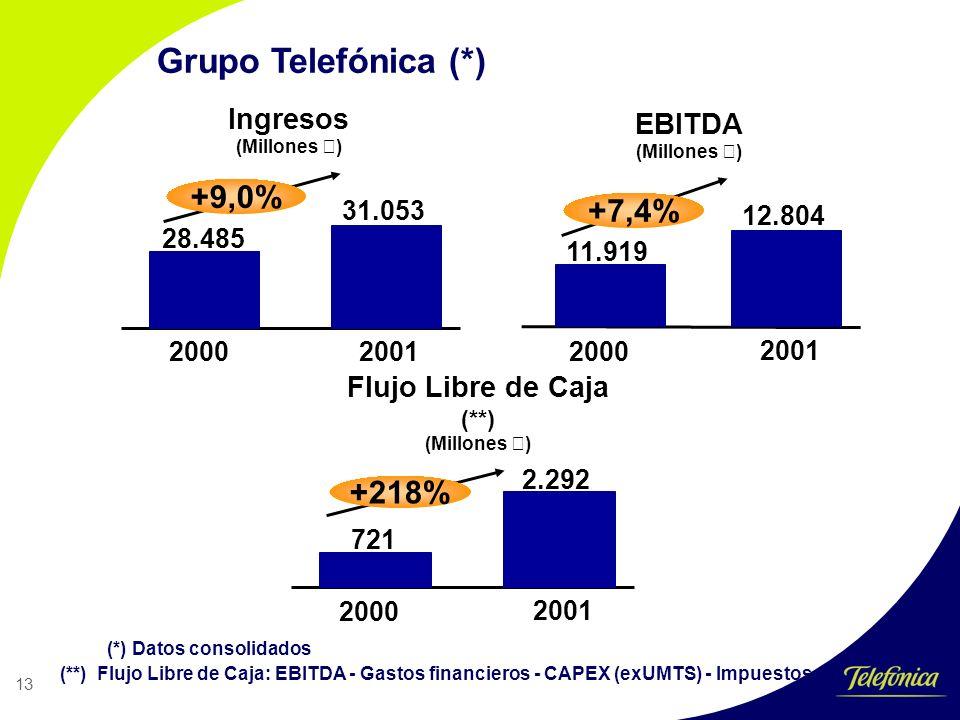 13 Grupo Telefónica (*) Ingresos (Millones €) EBITDA (Millones €) 20002001 28.485 31.053 2000 2001 11.919 12.804 +9,0% +7,4% Flujo Libre de Caja (**) (Millones €) 2000 2001 721 2.292 +218% (*) Datos consolidados (**) Flujo Libre de Caja: EBITDA - Gastos financieros - CAPEX (exUMTS) - Impuestos