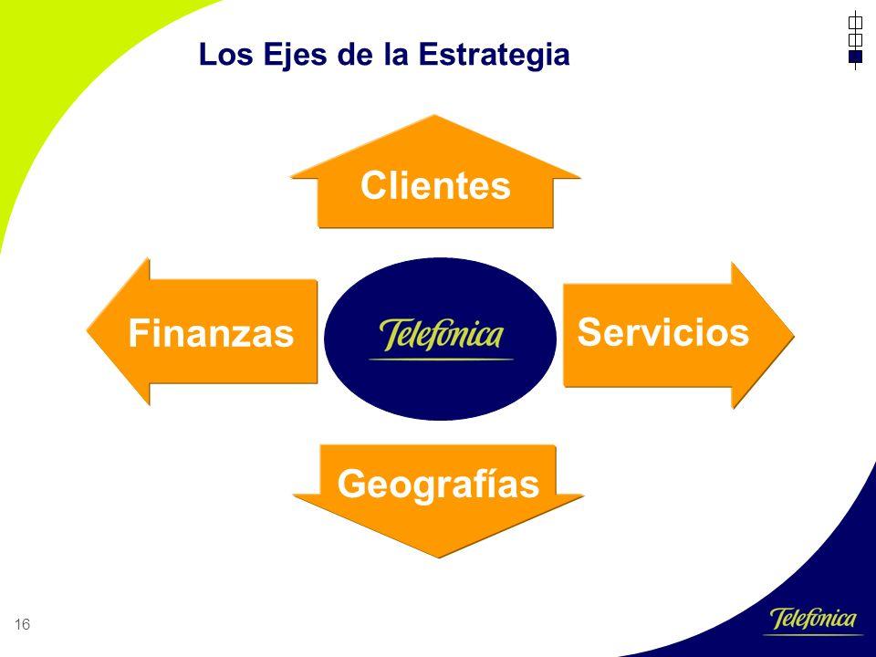 16 Los Ejes de la Estrategia Clientes Geografías Servicios Finanzas