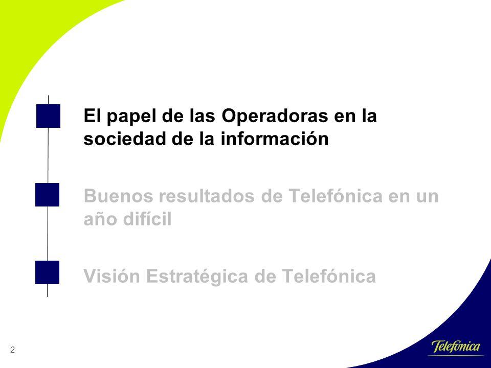 2 El papel de las Operadoras en la sociedad de la información Buenos resultados de Telefónica en un año difícil Visión Estratégica de Telefónica