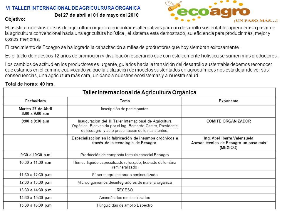 Objetivo: El asistir a nuestros cursos de agricultura orgánica encontraras alternativas para un desarrollo sustentable, aprenderás a pasar de la agric