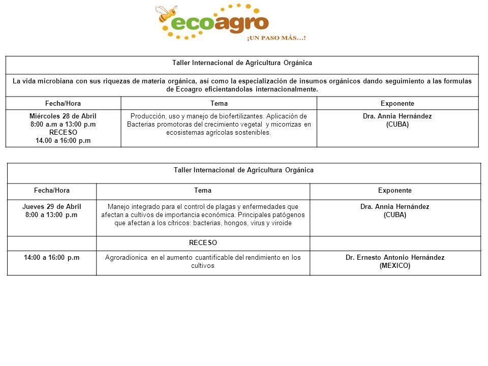Taller Internacional de Agricultura Orgánica La vida microbiana con sus riquezas de materia orgánica, así como la especialización de insumos orgánicos