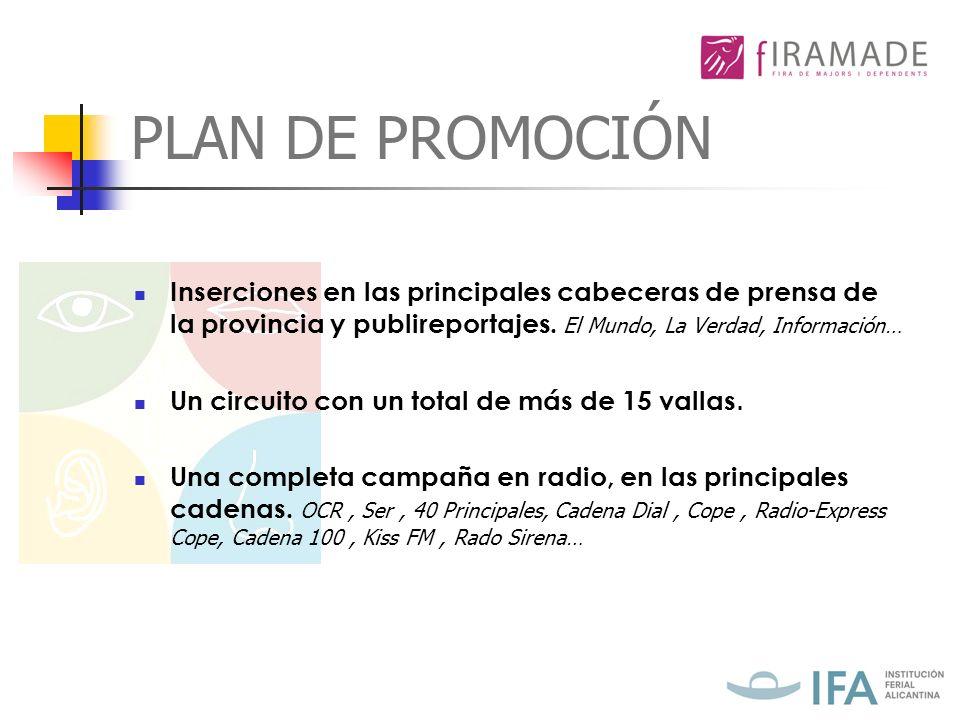 PLAN DE PROMOCIÓN Inserciones en las principales cabeceras de prensa de la provincia y publireportajes.
