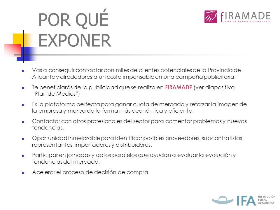 POR QUÉ EXPONER Vas a conseguir contactar con miles de clientes potenciales de la Provincia de Alicante y alrededores a un coste impensable en una campaña publicitaria.