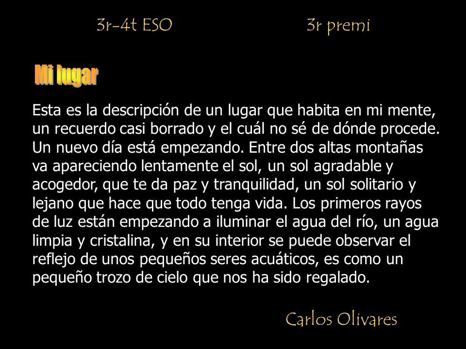 3r-4t ESO 3r premi Carlos Olivares Esta es la descripción de un lugar que habita en mi mente, un recuerdo casi borrado y el cuál no sé de dónde procede.