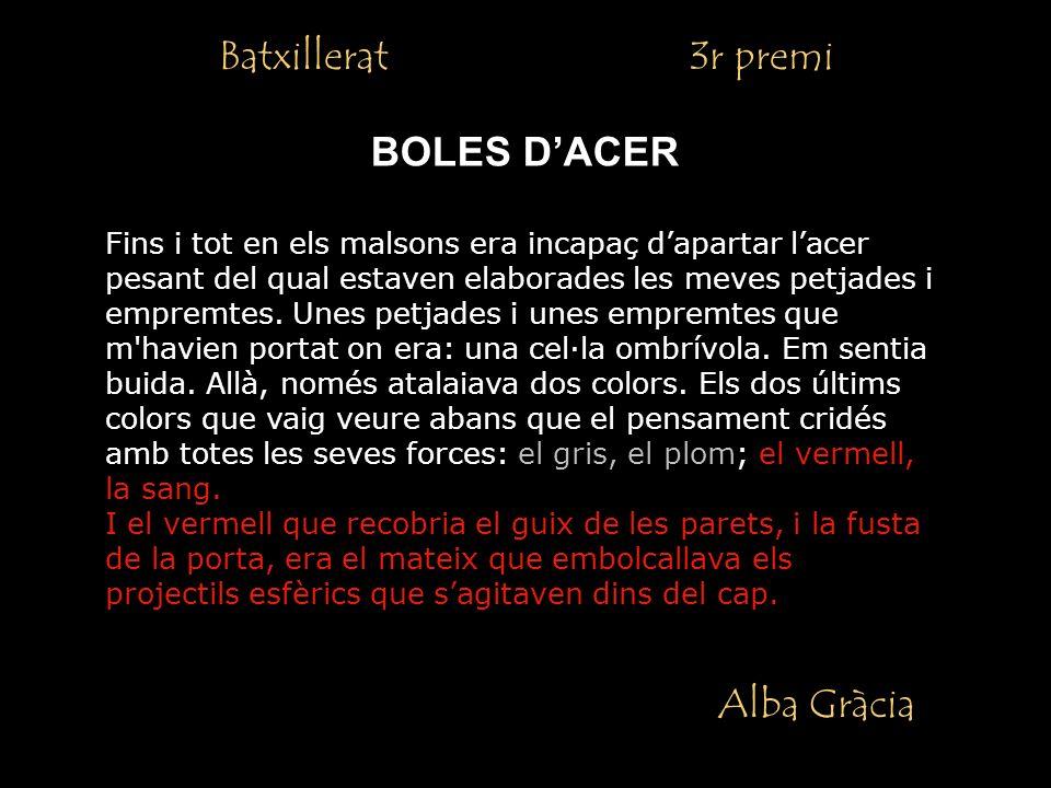 Batxillerat 3r premi Alba Gràcia BOLES DACER Fins i tot en els malsons era incapaç dapartar lacer pesant del qual estaven elaborades les meves petjades i empremtes.