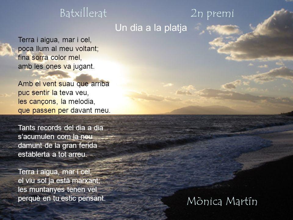 Batxillerat 2n premi Mònica Martín Un dia a la platja Terra i aigua, mar i cel, poca llum al meu voltant; fina sorra color mel, amb les ones va jugant.