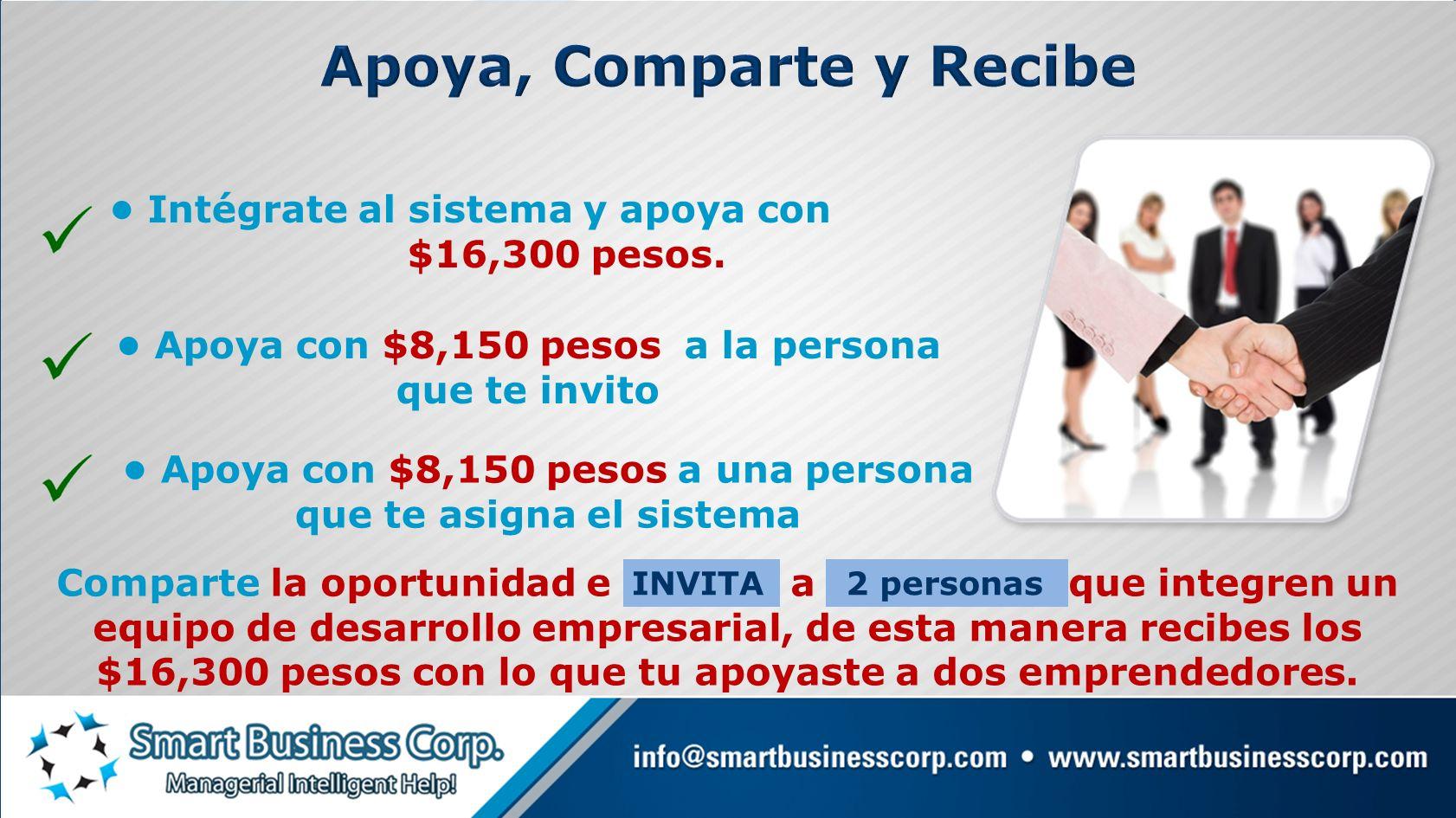 Intégrate al sistema y apoya con $16,300 pesos. Comparte la oportunidad e INVITA a 2 personas que integren un equipo de desarrollo empresarial, de est