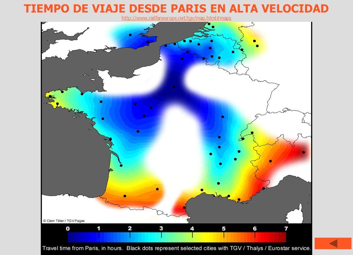 TIEMPO DE VIAJE DESDE PARIS EN ALTA VELOCIDAD http://www.railfaneurope.net/tgv/map.html#maps http://www.railfaneurope.net/tgv/map.html#maps