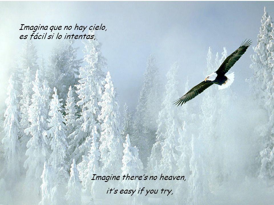 Imagine theres no heaven, its easy if you try, Imagina que no hay cielo, es fácil si lo intentas,
