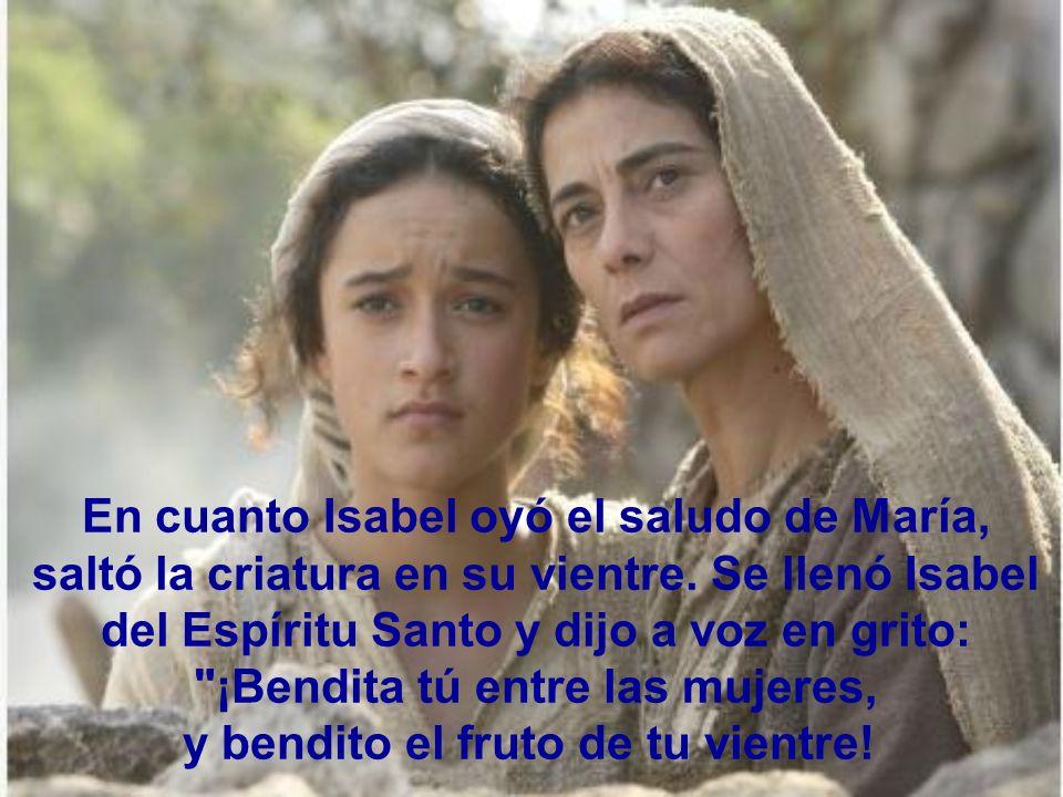 En aquellos días, María se puso de camino y fue a prisa a la montaña, a un pueblo de Judá; entró en casa de Zacarías y saludó a Isabel.