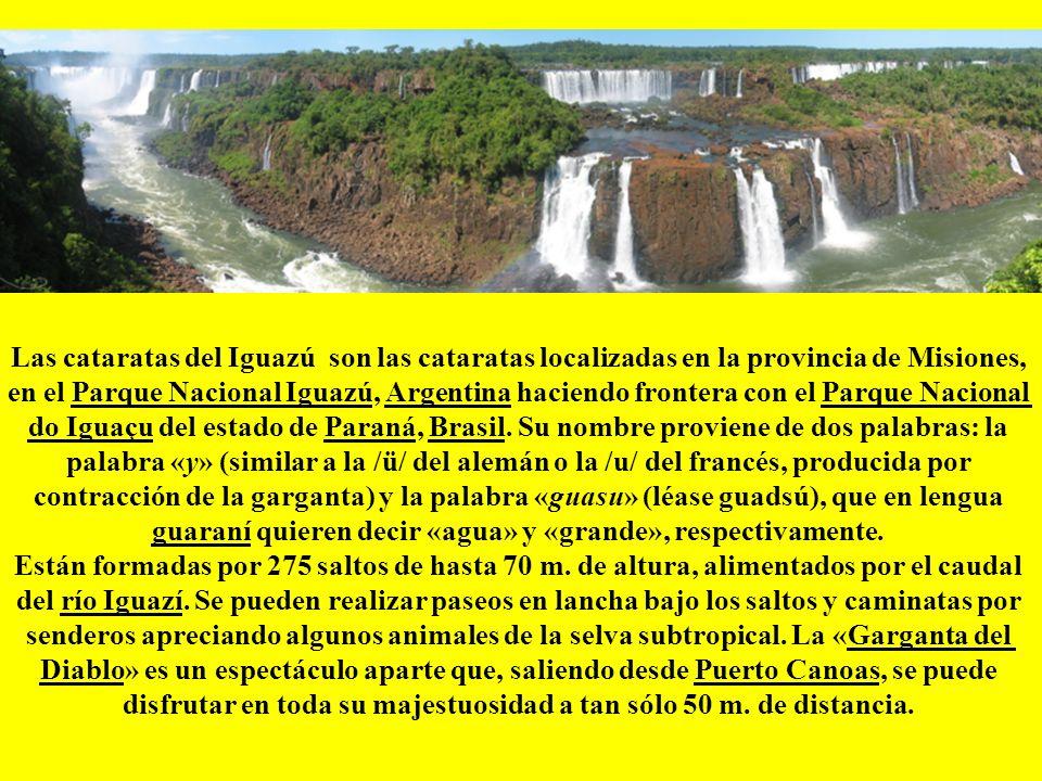 Las cataratas del Iguazú son las cataratas localizadas en la provincia de Misiones, en el Parque Nacional Iguazú, Argentina haciendo frontera con el Parque Nacional do Iguaçu del estado de Paraná, Brasil.