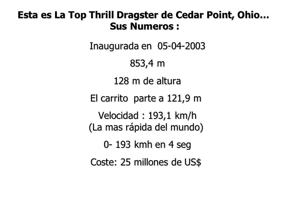 Esta es La Top Thrill Dragster de Cedar Point, Ohio… Sus Numeros : Inaugurada en 05-04-2003 Inaugurada en 05-04-2003 853,4 m 853,4 m 128 m de altura 1
