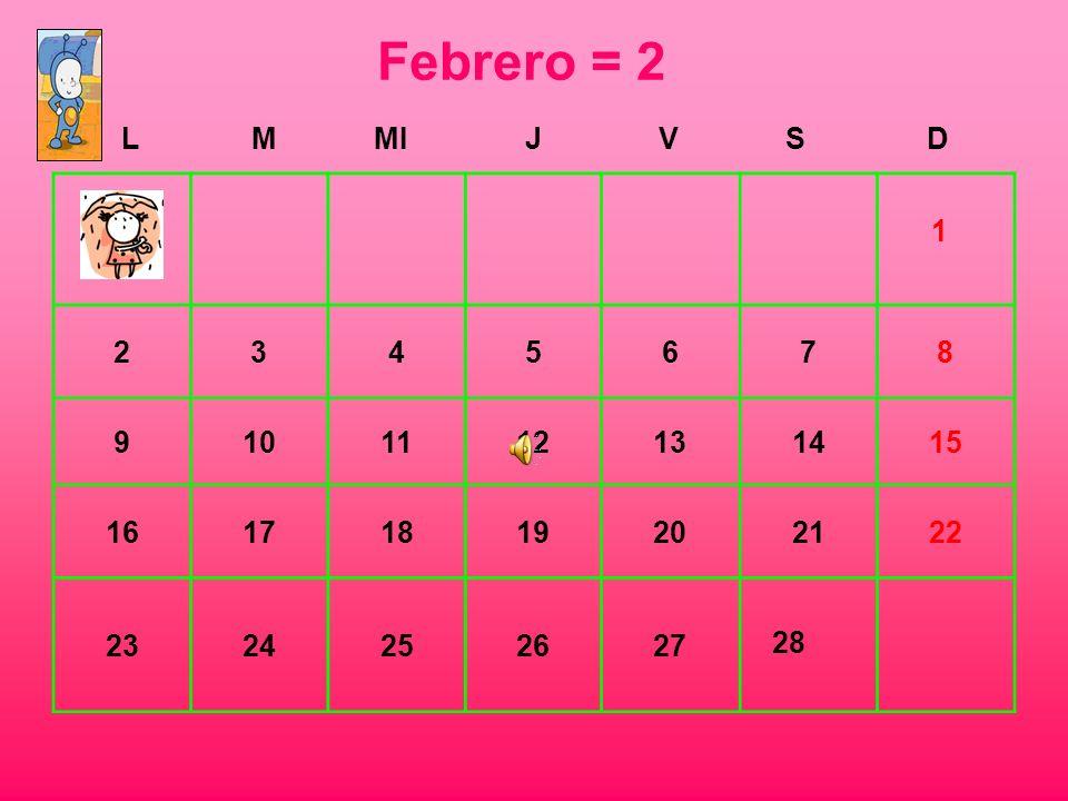 Febrero = 2