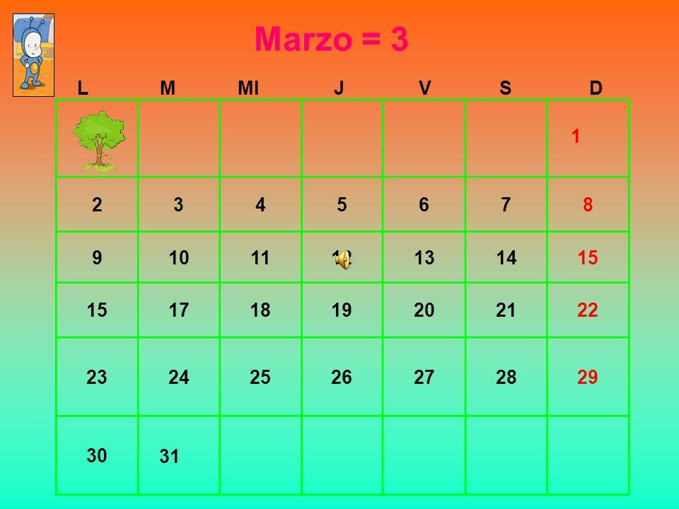 Marzo = 3