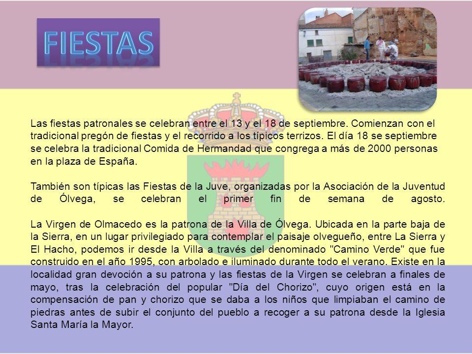 Ólvega es encrucijada de caminos y de regiones convergentes próximas de La RiojaRioja, AragónAragón, Navarra y la de Castilla y León a la que pertenece.
