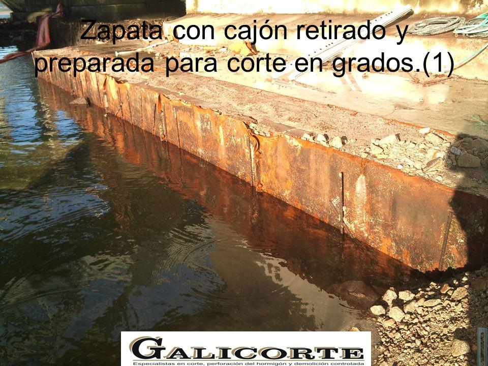 Zapata con cajón retirado y preparada para corte en grados.(1)