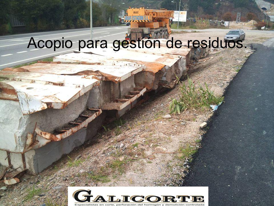 Acopio para gestión de residuos.