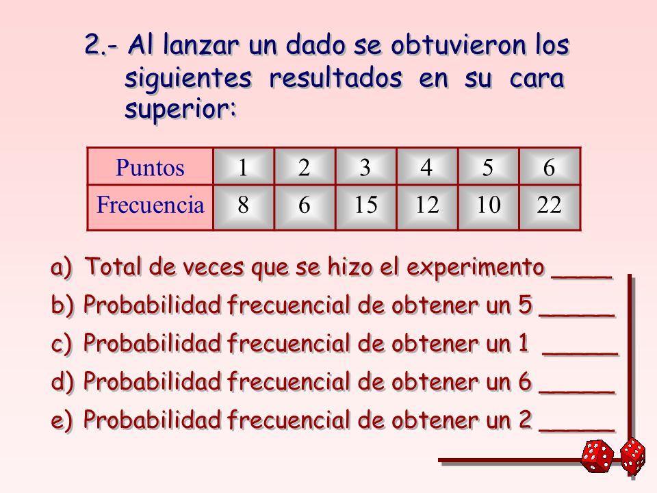 FRECUENCIA RELATIVA Es la frecuencia dividida entre el total de ensayos realizados.