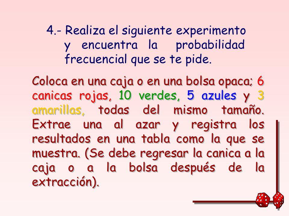 3.- Al lanzar un dado normal, ¿cuál es la probabilidad clásica de que salga a) Un número par? _____ b) Un 4? _____ c) Un número primo? _____ d) Un núm
