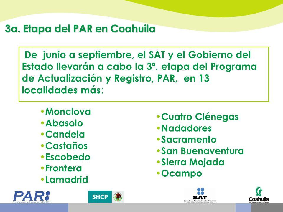 De junio a septiembre, el SAT y el Gobierno del Estado llevarán a cabo la 3ª. etapa del Programa de Actualización y Registro, PAR, en 13 localidades m