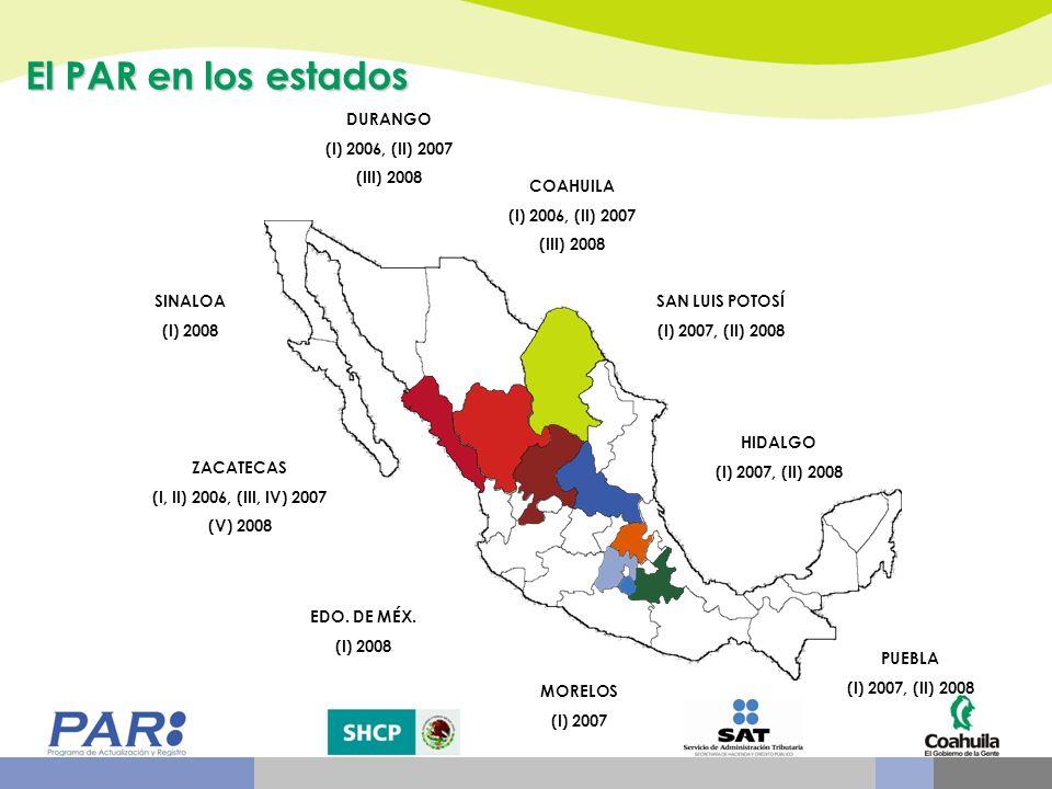 HIDALGO (I) 2007, (II) 2008 COAHUILA (I) 2006, (II) 2007 (III) 2008 DURANGO (I) 2006, (II) 2007 (III) 2008 EDO. DE MÉX. (I) 2008 PUEBLA (I) 2007, (II)