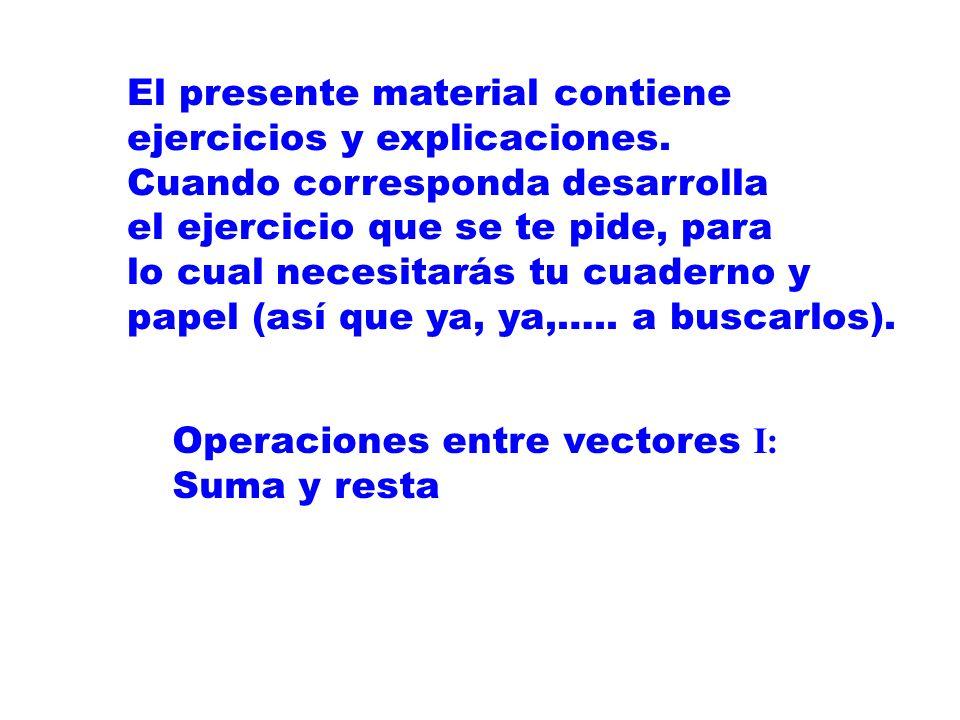 Operaciones entre vectores I: Suma y resta El presente material contiene ejercicios y explicaciones.