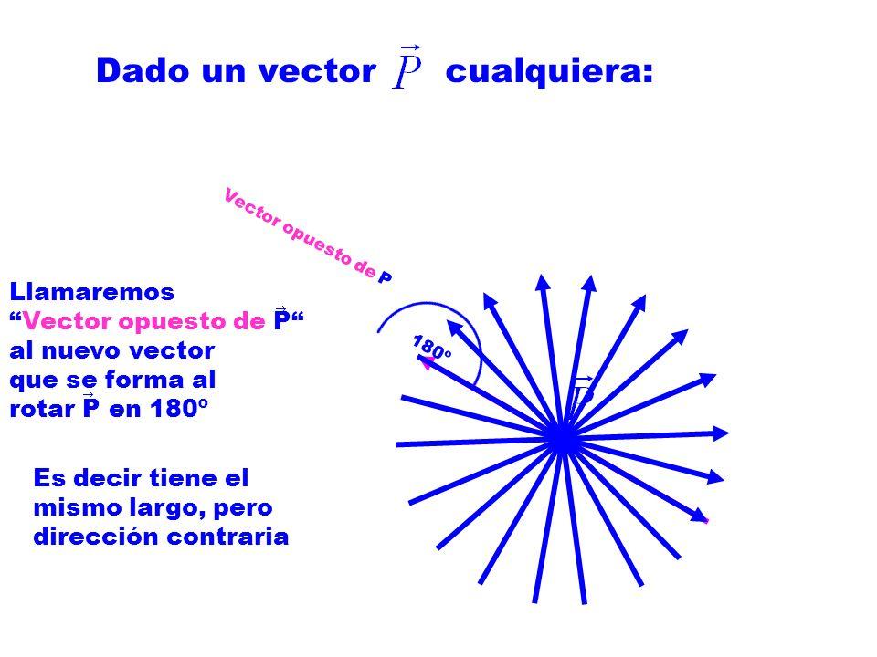 Dado un vector cualquiera: Llamaremos Vector opuesto de P al nuevo vector que se forma al rotar P en 180º Es decir tiene el mismo largo, pero dirección contraria Vector opuesto de P 180º