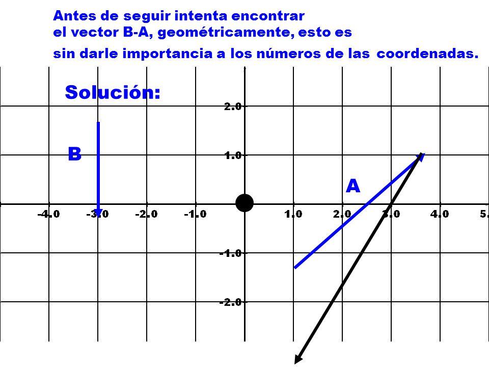 Antes de seguir intenta encontrar el vector B-A, geométricamente, esto es sin darle importancia a los números de las coordenadas.