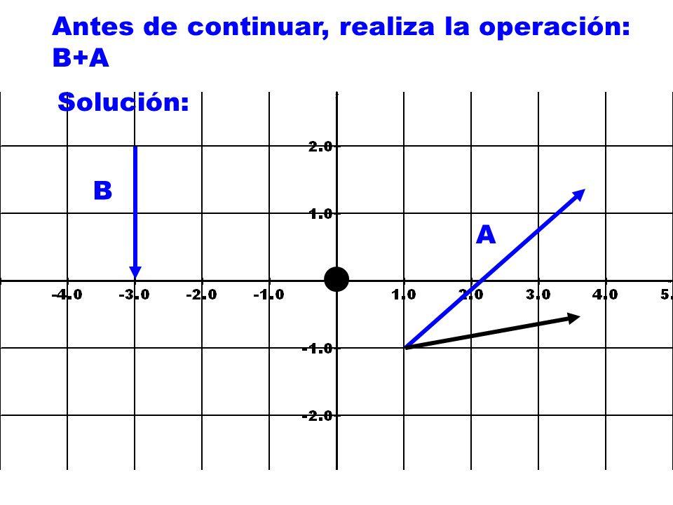 Antes de continuar, realiza la operación: B+A A B Solución: