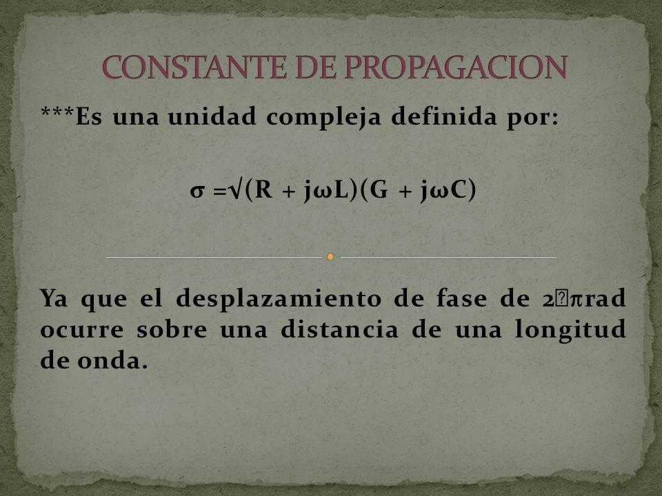 ***Es una unidad compleja definida por: σ =(R + jωL)(G + jωC) Ya que el desplazamiento de fase de 2 rad ocurre sobre una distancia de una longitud de