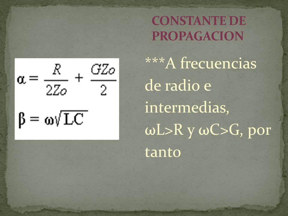 ***A frecuencias de radio e intermedias, ωL>R y ωC>G, por tanto