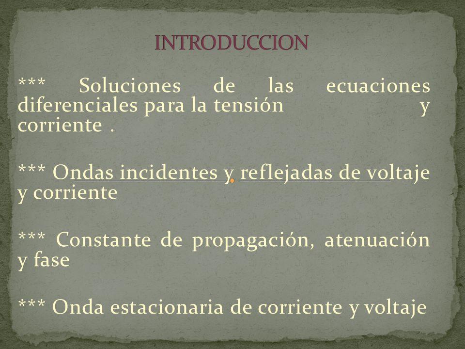 *** Soluciones de las ecuaciones diferenciales para la tensión y corriente. *** Ondas incidentes y reflejadas de voltaje y corriente *** Constante de