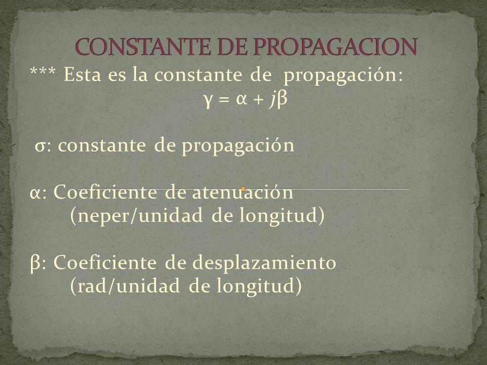 *** Esta es la constante de propagación: γ = α + jβ σ: constante de propagación α: Coeficiente de atenuación (neper/unidad de longitud) β: Coeficiente