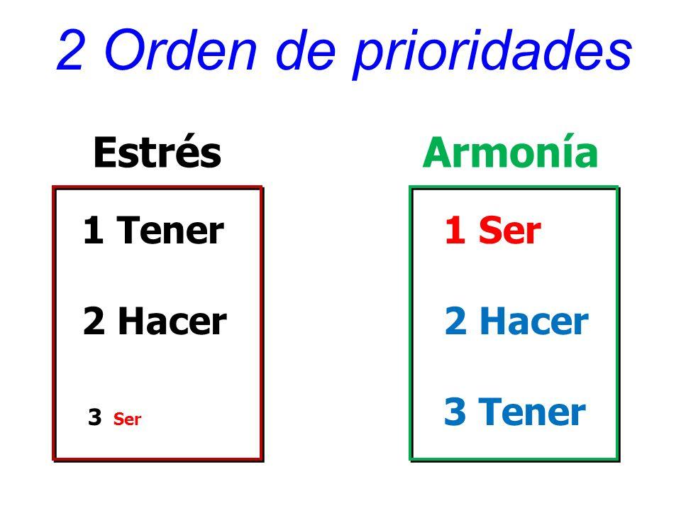 2 Orden de prioridades 1 Tener 2 Hacer 3 Ser EstrésArmonía 1 Ser 2 Hacer 3 Tener